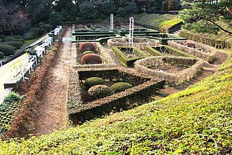 Kyu-Furukawa Gardens - The rose garden is built on a slope and have geometric structure.