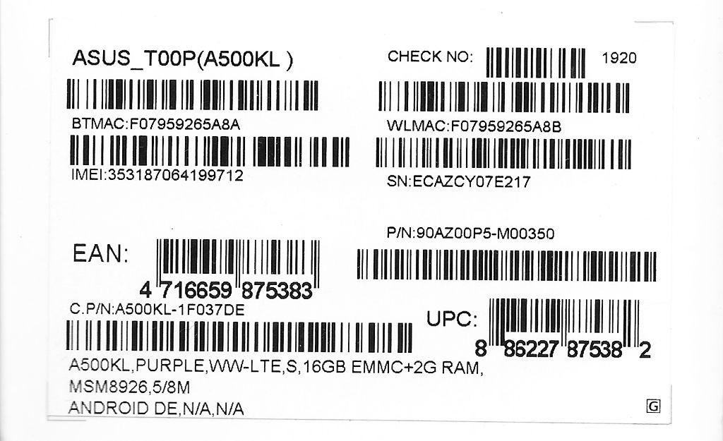 FileBarcodes Asus Mobile Phone Box