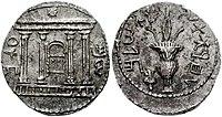 Bar-Kokhba opstand munt met behulp van Paleo-Hebreeuws schrift, met aan de ene kant een gevel van de Tempel, de Ark van het Verbond binnenin, ster erboven;  en aan de andere kant een lulav met etrog.