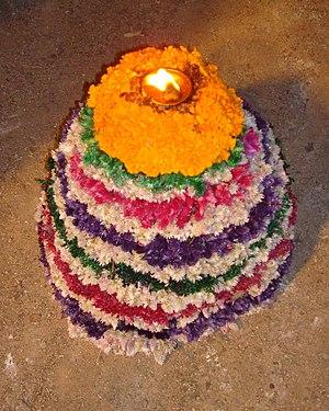 Culture of Telangana - Bathukamma flower arrangement