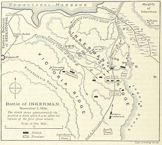 Battle of Inkerman - A British map of the positions of the forces after the initial assault