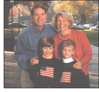 Evan Bayh - Bayh with his wife and sons in the early-2000s