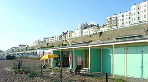 Kemptown, Brighton - Municipal beach huts below King's Cliff (Kemptown)