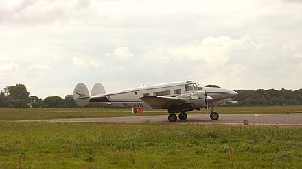 Private Beech H18 with the optional tricycle undercarriage visiting Lannion, France Beech 18h.jpg