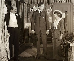 Behind the Scenes (1914 film) - from left: Russell Bassett, James Kirkwood, and Mary Pickford in Behind the Scenes
