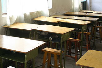 Migration in China - Classroom in a school for migrant students in Beijing (Dongba district).