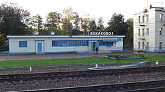 Bekasovo-1 station (station building, view from high platform).JPG