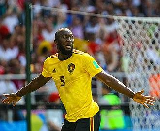 Romelu Lukaku - Lukaku celebrating for Belgium at the 2018 FIFA World Cup