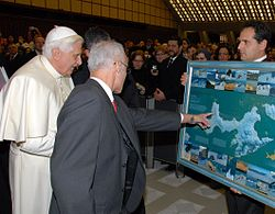 Benedict XVI is shown a map of Ioannes Paulus II Peninsula in Antarctica.