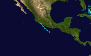1973 Pacific hurricane season - Image: Bernice 1973 track