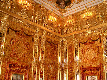 Amber Room in the Catherine Palace of St. Petersburg (Russia)