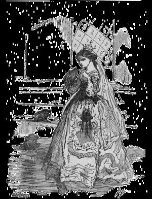 Crapaud - Vignette de Les Cygnes sauvages par Bertall représentant la princesse Élisa et les trois crapauds. (Thumbnail of The Wild Swans by Bertall representing the Princess Eliza and three toads.)