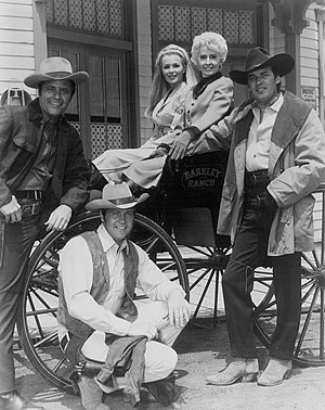 The Big Valley - The Big Valley main cast. Left to right: Long, Majors, Evans, Stanwyck and Breck