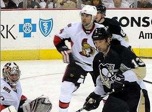 2010 Stanley Cup playoffs - Pittsburgh's Bill Guerin plays in-front of the Senators net April 16.