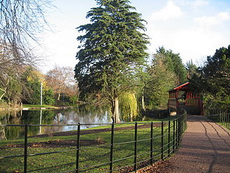 Birkenhead Park - Approaching the 'Swiss Bridge' over the lake.