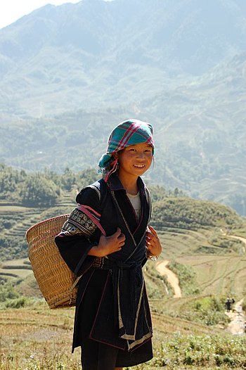 Girl of the Black H'mong people near Sapa, Vietnam
