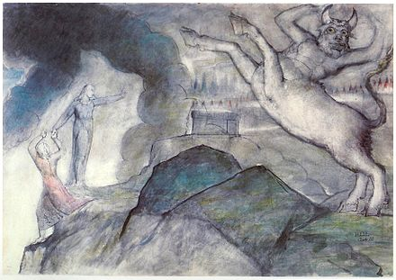 William Blake's image of the Minotaur to illustrate Inferno, Canto XII,12-28, The Minotaur XII Blake Dante Hell XII.jpg