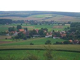 Blick vom Ösel auf Neindorf und Ohrum sowie den Oderwald