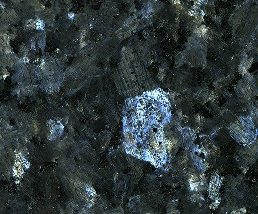 Blue Pearl Granite (larvikite) (Larvik Batholith, 292-298 Ma, Early Permian; near Larvik, Norway) 1 (14620330099)