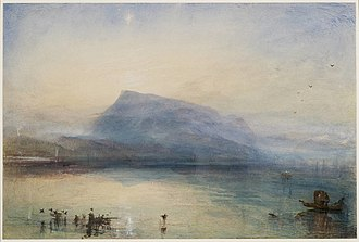 Rigi - The Blue Rigi, Sunrise by J. M. W. Turner (watercolour on paper, 1842)