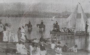 Benambra, Victoria - Boating on Lake Omeo, Benambra, 1892