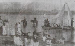 Benambra, Victoria - Boating on Lake Omeo, Benambra, 1892