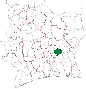 Bocanda Department - Image: Bocanda Department locator map Côte d'Ivoire