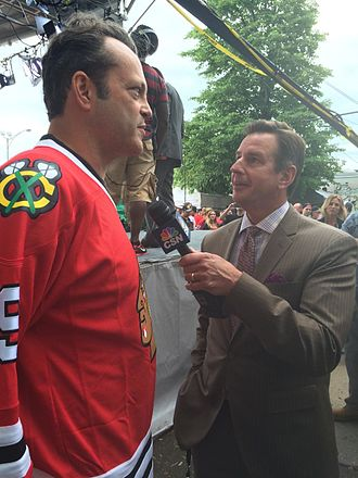 Chris Boden (sports reporter) - Chris Boden interviews actor Vince Vaughn before a 2015 Chicago Blackhawks Stanely Cup game at the United Center in Chicago.