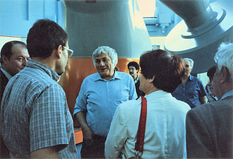 Rozhen Observatory - Bogomil Kovachev, founder of the Rozhen Observatory, with a group of visiting Bulgarian scholars in the summer of 1987