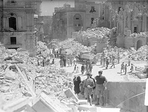 Bomb Damage in Valletta, Malta, 1 May 1942. A8701