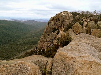 Booroomba Rocks - Viewing NE from the saddle of Booroomba Rocks as approached from Apollo Road and Honeysuckle Campsite
