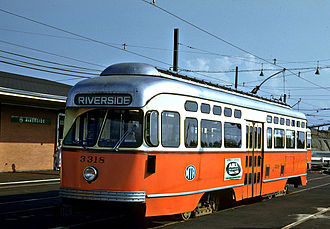 PCC streetcar - A PCC streetcar at Boston's Riverside station in the early 1960s