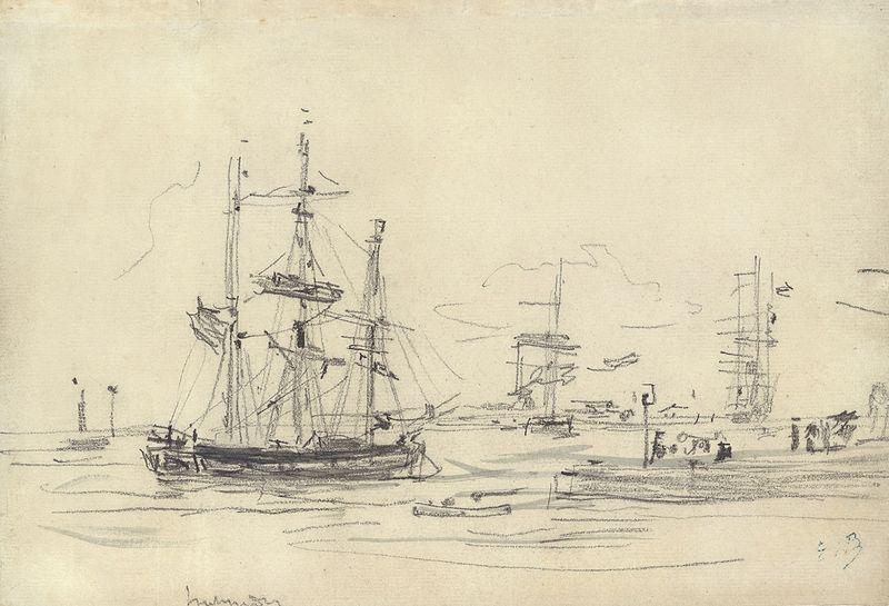 File:Boudin, Bateaux dans le port..jpeg
