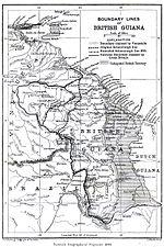 Mapa inglés que muestra las máximas aspiraciones británicas sobre la Guayana Esequiba.