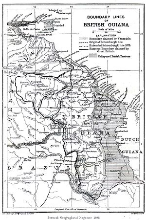 Venezuelan crisis of 1895 - Image: Boundary lines of British Guiana 1896