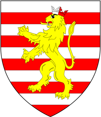 William Brandon (standard-bearer) - Arms of Brandon: Barry of ten argent and gules, a lion rampant or ducally crowned per pale of the first and second