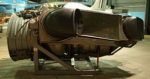 Afterburner - The plenum chamber burning Bristol Siddeley BS100. In this vectored thrust engine reheat was applied to the front two nozzles only