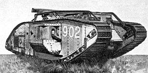 Fotografía de un tanque británico Mark V.
