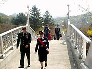 British military attache and other officers on Gloster Bridge