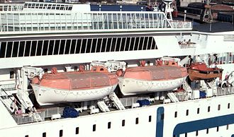 Lifeboat (shipboard) - Partially enclosed lifeboats on a passenger liner