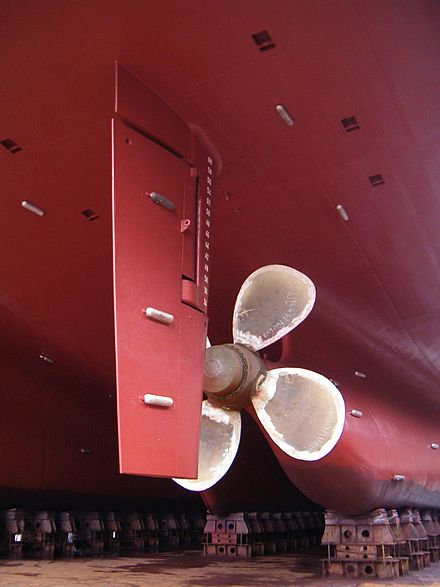 Modern ship rudder (the long red rectangle in front of the propeller) - Rudder