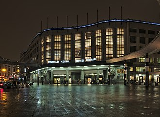 Brussels Central Station - Image: Bruxelles Central Brussel Centraal train station entrance from Carrefour de l'Europe on a December evening (astronomical twilight)