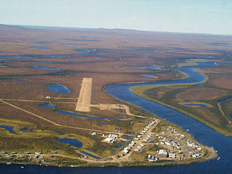 Buckland, Alaska - Aerial view of Buckland from the east
