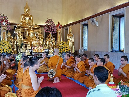 An ordination ceremony at Wat Yannawa in Bangkok. The Vinaya codes regulate the various sangha acts, including ordination. Buddhist Ordination Ceremony.jpg