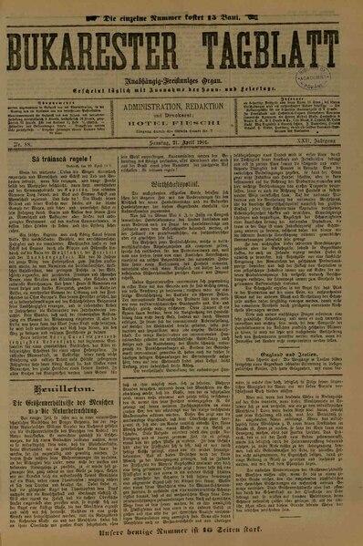File:Bukarester Tagblatt 1901-04-21, nr. 088.pdf