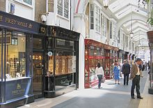 View of Burlington arcade, with shoppers