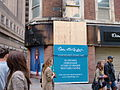 Burnt out Miss Selfridge's in Manchester, 2011 riots.jpg