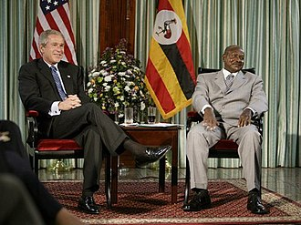 Uganda - U.S. President George W. Bush met with President Yoweri Museveni in Entebbe, Uganda, July 11, 2003.