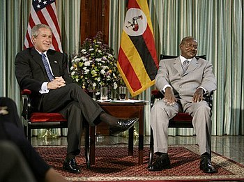 American President George W. Bush meets with P...