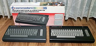 Commodore 16 - European box, Commodore 16 prototype (bottom left) and a regular series model with black case